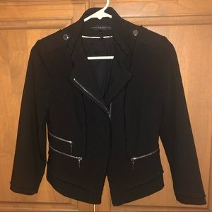 WHBM Zippered Black Blazer